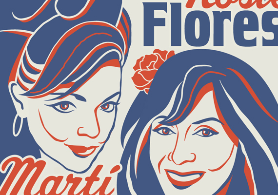 Tour poster for rockabilly music legends Marti Brom and Rosie Flores